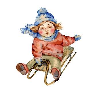 Illustrazione d'annata dell'acquerello di natale, slittino sveglio del bambino, personaggi dei cartoni animati