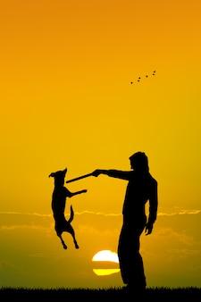 Illustrazione del cane addestrato al tramonto