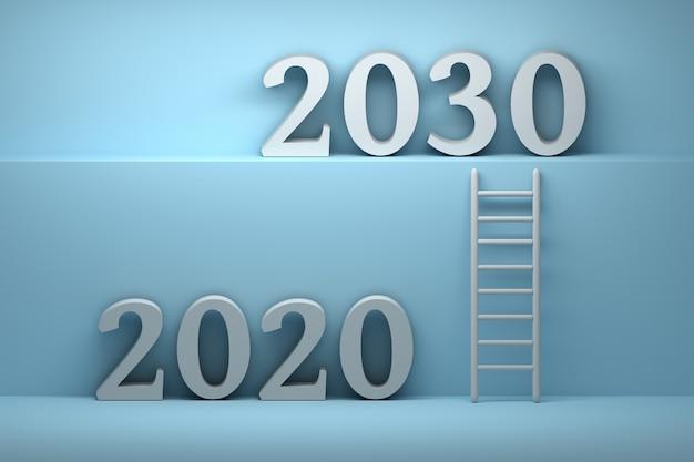Illustrazione del futuro con numeri 2020 e 2030 anni
