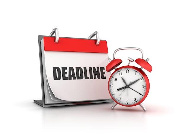Illustrazione del rendering dell'orologio con il calendario deadline