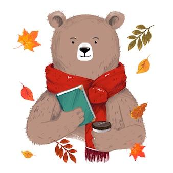 Illustrazione dell'orso con un libro e un caffè circondato da foglie isolate