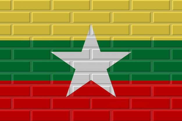 Illustrazione della bandiera del mattone del myanmar