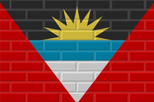 Illustrazione della bandiera del mattone dell'antigua e barbuda