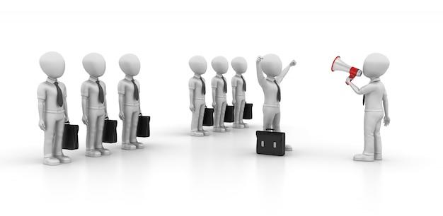 Illustrazione della rappresentazione 3d dei personaggi di affari del fumetto con il megafono