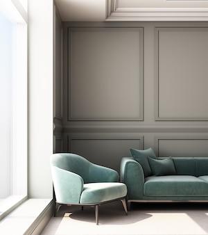 Illustrazione della rappresentazione 3d del salone con il pannello di parete e il sofà classici di lusso
