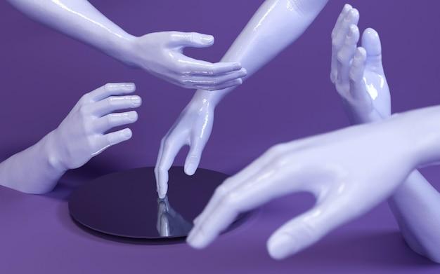 Illustrazione della rappresentazione 3d delle mani dell'uomo in studio porpora con lo specchio. parti del corpo umano.