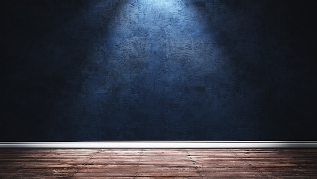 Illustrazione della rappresentazione 3d di grande stanza moderna con la parete blu del gesso, il pavimento di legno e lo zoccolo bianco. interni con faretti luminosi.