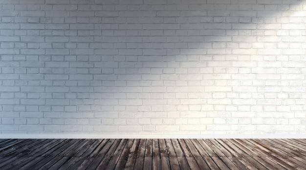 Illustrazione della rappresentazione 3d di grande stanza vuota moderna con il muro di mattoni bianco e il pavimento di legno ruvido. showroom sotterraneo con luce laterale destra, luce mattutina.