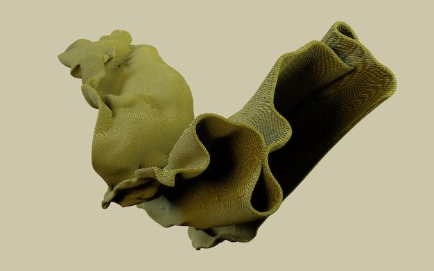 Illustrazione della rappresentazione 3d di materiale verde terroso caldo del panno molle su fondo piano. carta da parati in formato orizzontale.