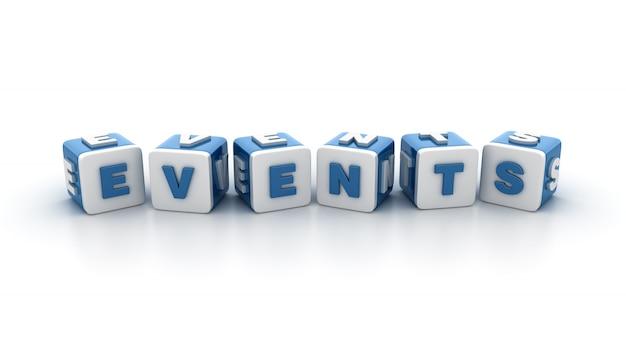 Illustrazione della rappresentazione dei blocchetti delle mattonelle con la parola eventi
