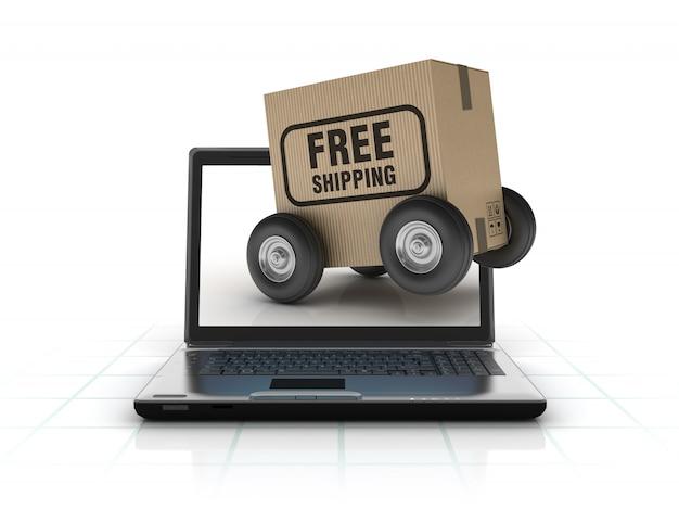 Illustrazione della rappresentazione del computer portatile con la scatola di spedizione gratuita