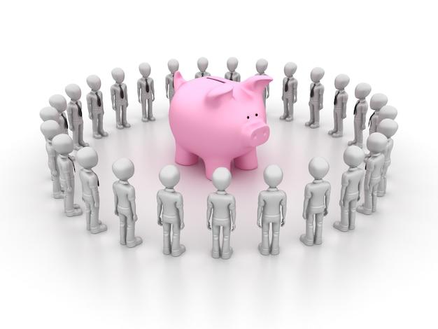 Illustrazione della rappresentazione del lavoro di squadra di affari del fumetto con il porcellino salvadanaio