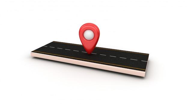Illustrazione della rappresentazione del tratto di strada con l'indicatore gps