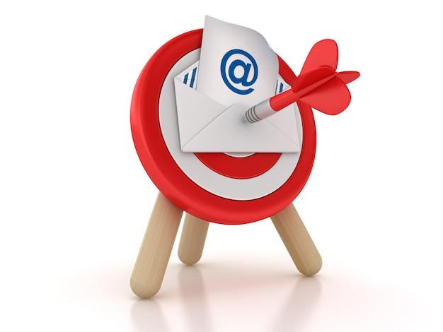 Illustrazione della rappresentazione della busta del email e dell'obiettivo