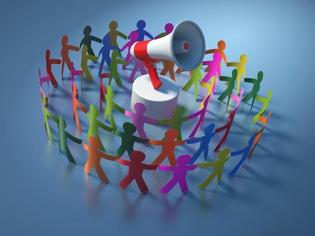 Illustrazione della rappresentazione della gente del pittogramma di lavoro di squadra con il megafono
