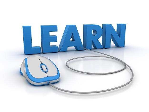 Illustrazione della rappresentazione della parola impara con il topo del computer e dell'obiettivo