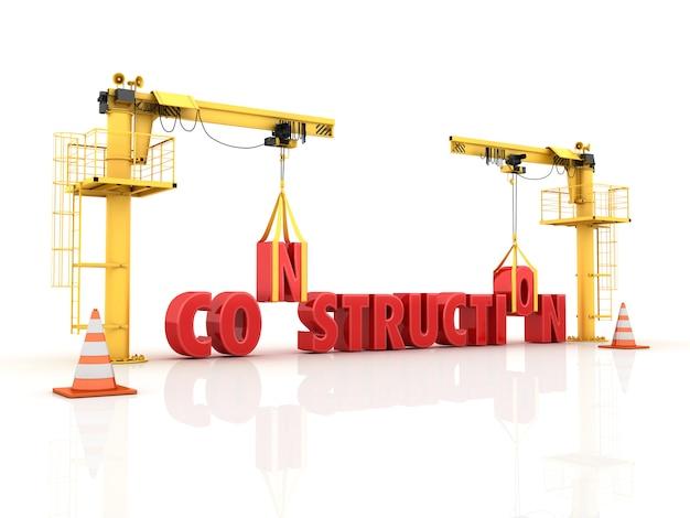 Illustrazione della rappresentazione delle gru che costruiscono la parola costruzione