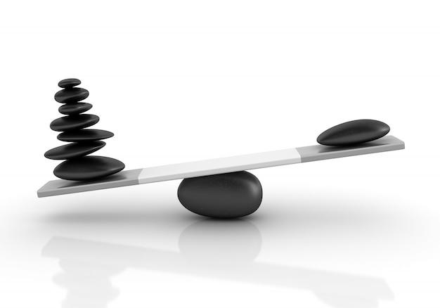 Illustrazione della rappresentazione delle pietre che equilibrano su un'altalena
