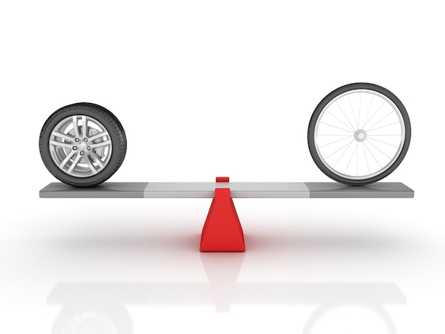 Illustrazione della rappresentazione delle ruote della bici e dell'automobile che equilibra su un'altalena
