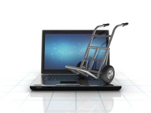 Illustrazione della rappresentazione di un computer portatile con un carrello