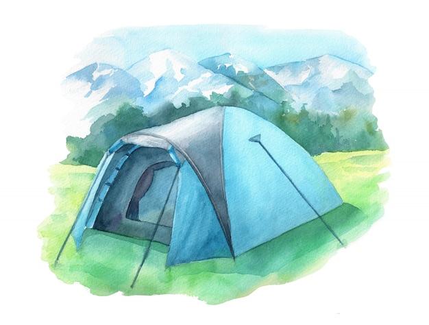 Illustrazione di campeggio selvaggia con la tenda sul prato verde