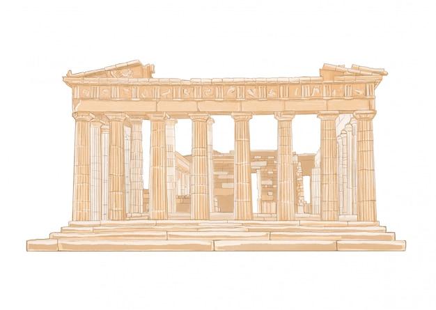 Illustrazione di colore disegnata a mano del partenone. acropoli, atene, grecia.