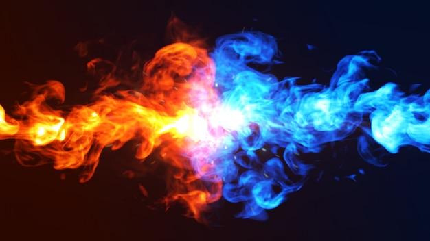 Illustrazione di concetto 3d del ghiaccio e del fuoco.