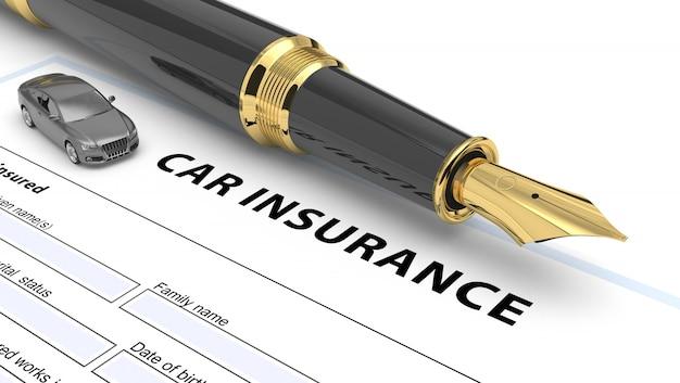 Illustrazione di politica di assicurazione auto 3d