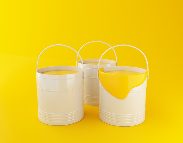 Illustrazione di rendering 3d. secchi di vernice piena su sfondo giallo.