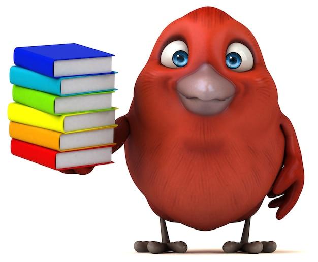 Illustrazione di uccello rosso