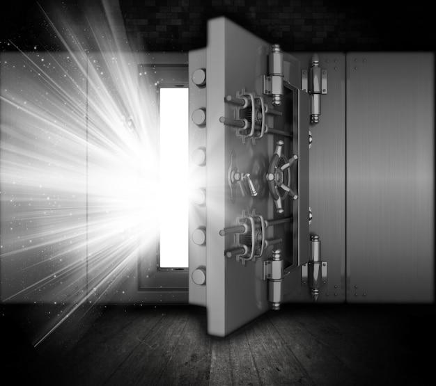 Illustrazione di un caveau di una banca in un interno grunge con fasci di luce che esce da porta aperta