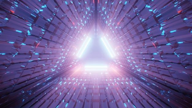Illustrazione di un corridoio triangolare fatto di linee viola e blu