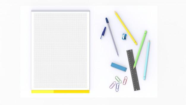 Illustrazione di una scrivania bianca con un blocco bianco