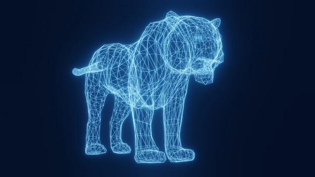 Illustrazione di una tigre incandescente al neon blu da una griglia tridimensionale. rendering 3d.