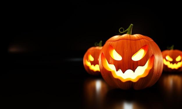 Illustrazione di zucche di halloween su sfondo nero.