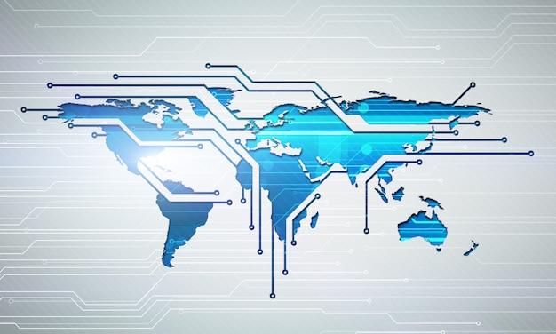 Illustrazione digitale astratta della mappa di connessione del mondo
