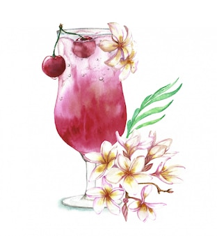 Illustrazione disegnata a mano dell'acquerello del cocktail fresco di estate con la ciliegia e la decorazione floreale.