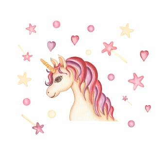 Illustrazione disegnata a mano della carta dell'unicorno dell'acquerello con cuore