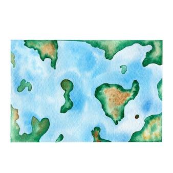 Illustrazione disegnata a mano della mappa di mondo dell'acquerello
