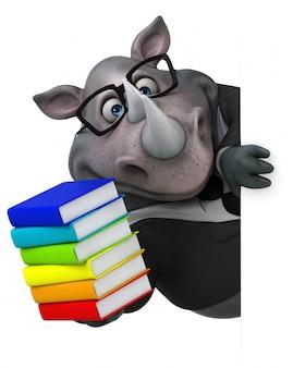 Illustrazione divertente del rinoceronte 3d