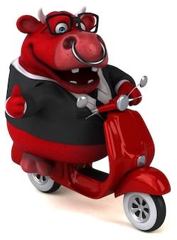 Illustrazione divertente del toro rosso