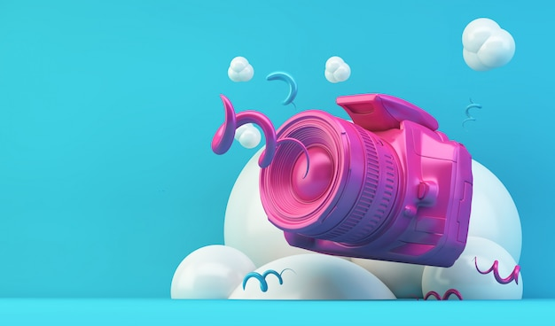 Illustrazione fotocamera rosa