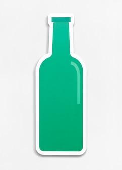 Illustrazione isolata della bottiglia di vetro verde