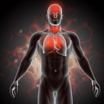 Illustrazione medica 3d con figura maschile che mostra i sintomi del virus covid 19