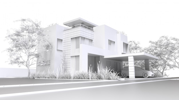 Illustrazione monocromatica 3d della casa e del giardino di plastica bianchi con il garage.
