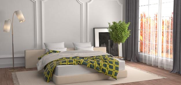 Illustrazione rendering interni camera da letto
