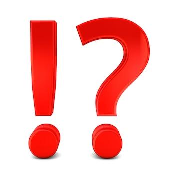 Illustrazione rossa dell'icona 3d del punto esclamativo e del punto interrogativo isolata su fondo bianco