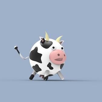 Illustrazione sveglia della mucca 3d