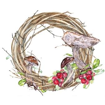 Illustrazioni ad acquerello di funghi. set di funghi isolati