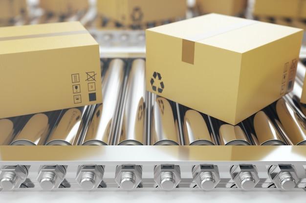 Imballa la consegna, il servizio d'imballaggio e il concetto del sistema di trasporto dei pacchi, scatole di cartone sul nastro trasportatore, rappresentazione 3d